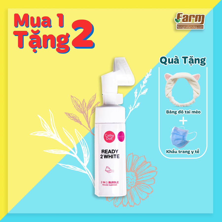 Sữa rửa mặt tạo bọt trắng da Cathy Doll Ready 2 White 2in1 Bubble Mousse Cleanser